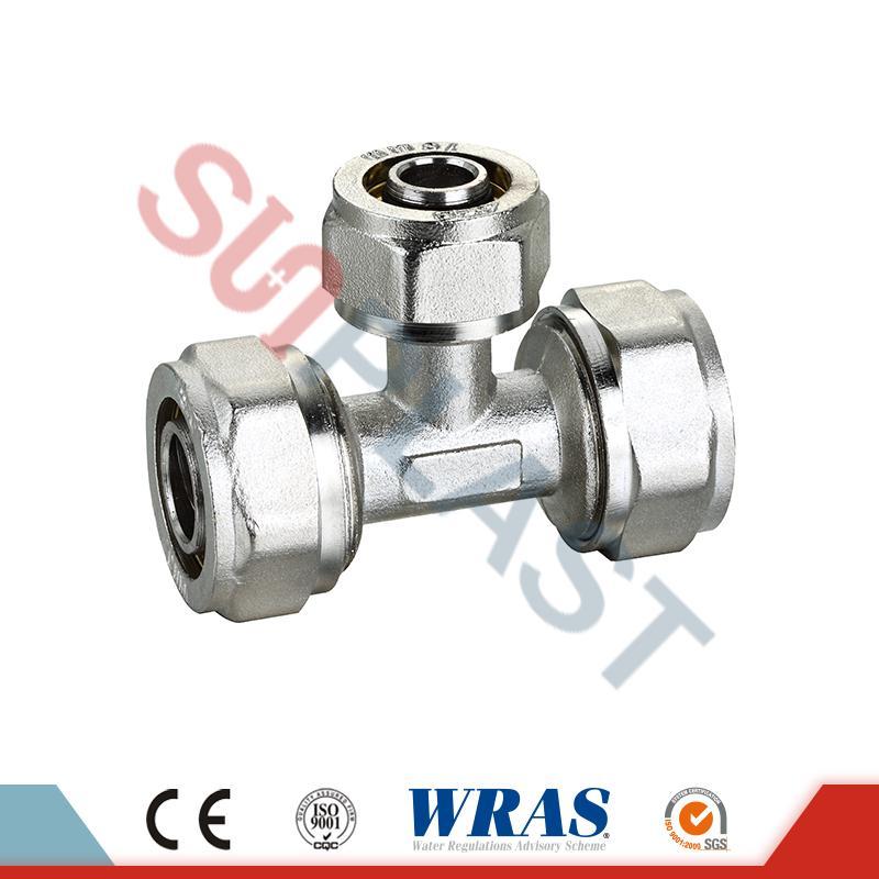Brass Compression Reducing Tee For PEX-AL-PEX Multilayer Pipe
